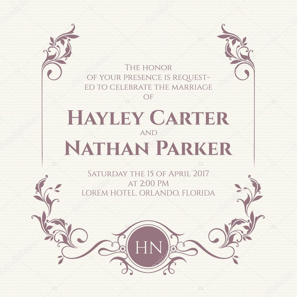 Wedding invitation decorative floral frame and monogram stock wedding invitation decorative floral frame and monogram stock vector junglespirit Image collections