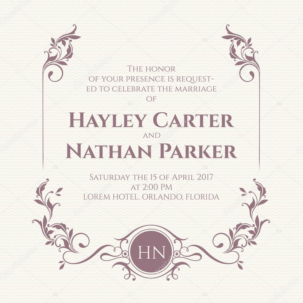 Wedding invitation. Decorative floral frame and monogram. — Stock ...