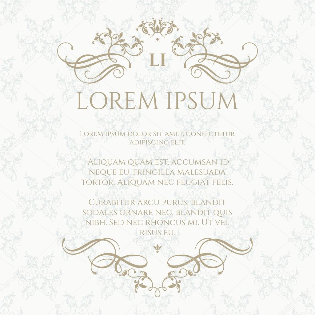 Vorlagenkarten. Florale Monogramm und Grenze mit kalligrafischen ...