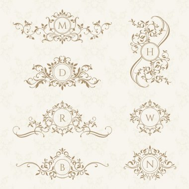 Decorative vector monograms.