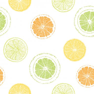 Seamless pattern of sliced oranges. Hand-drawn citrus.