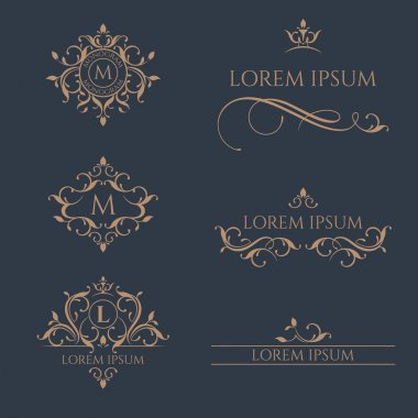 Set of monograms and borders. Graphic design pages, business sign,