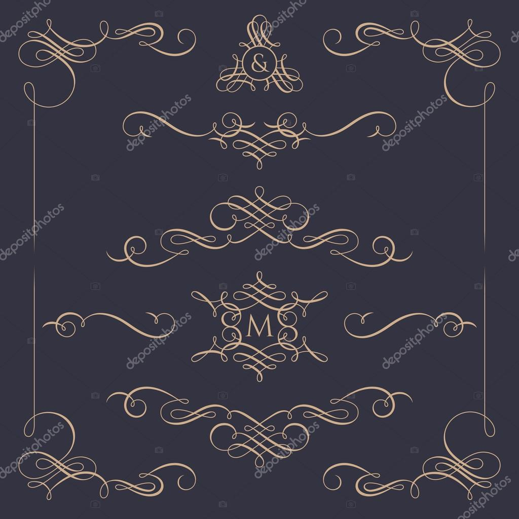 Monogrammi decorativi e bordi set di elementi for Bordi decorativi