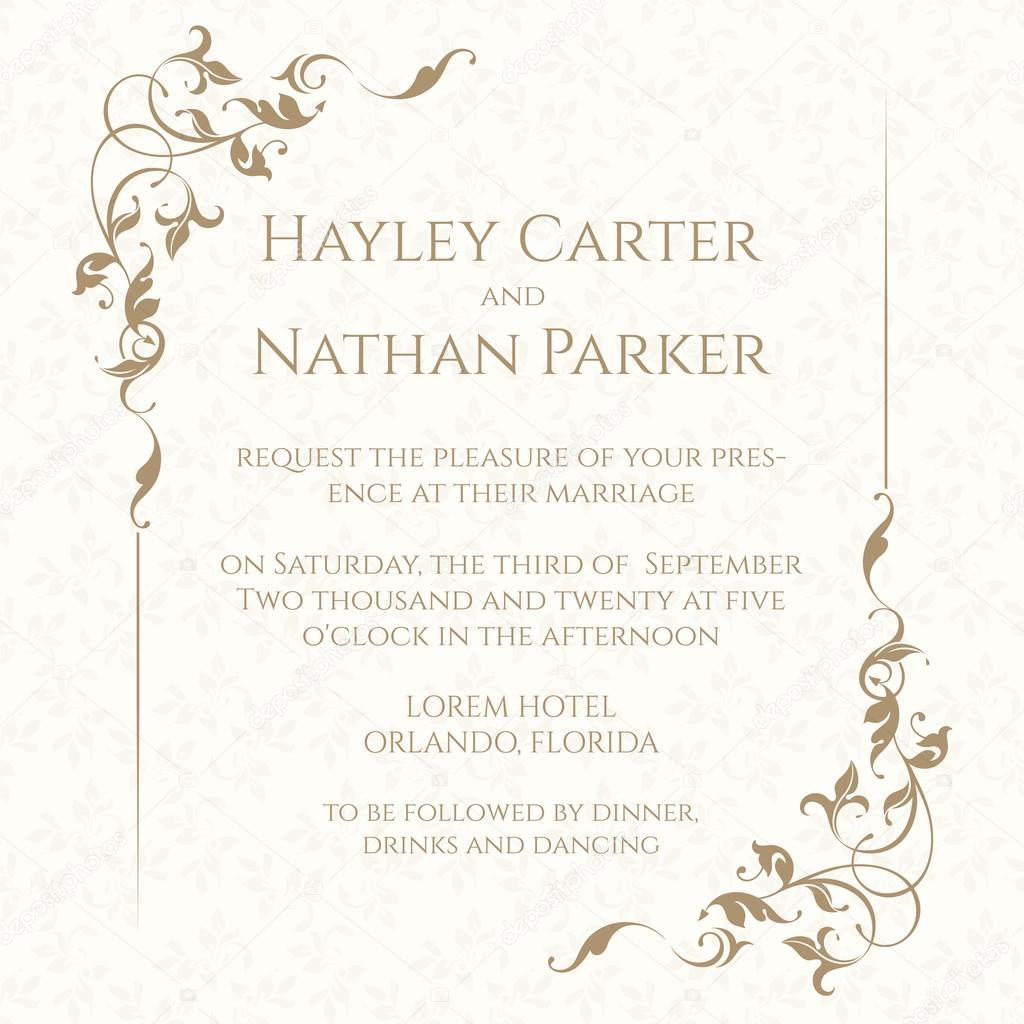 Invitation Card With Floral Frame On Seamless Background
