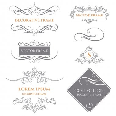 Set of decorative frames and calligraphic borders.