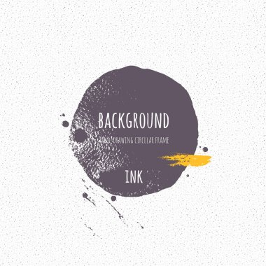 Ink strip, blot, circle. Silhouette shape painted with  brush on a wet watercolour paper. Vector texture.  Brush ink - rough, artistic edges. Grunge background. Seamless noise. clip art vector