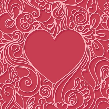 Heart frame on a red background. Lace seamless pattern.