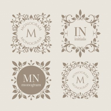 Floral monograms for cards, invitations, menus, labels