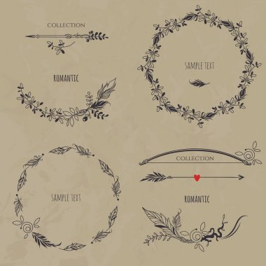 Collection of wreaths, borders, arrows and bow.
