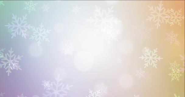 4K looping light multicolor animáció karácsonyi stílusban. Minőségi absztrakt videó színes karácsonyi szimbólumokkal. Holyday reklámok felvételei. 4096 x 2160, 30 fps.