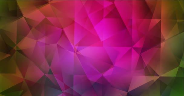 4K smyčka tmavě růžová, zelené video s polygonálními tvary.