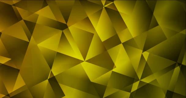 4K hurok sötétzöld, sárga poligonális videó minta.