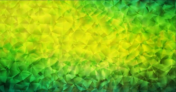 4K smyčka tmavě zelená, žlutá polygonální abstraktní animace.