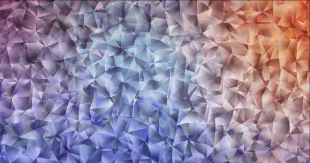 4K looping light blue, red polygonal flowing video.