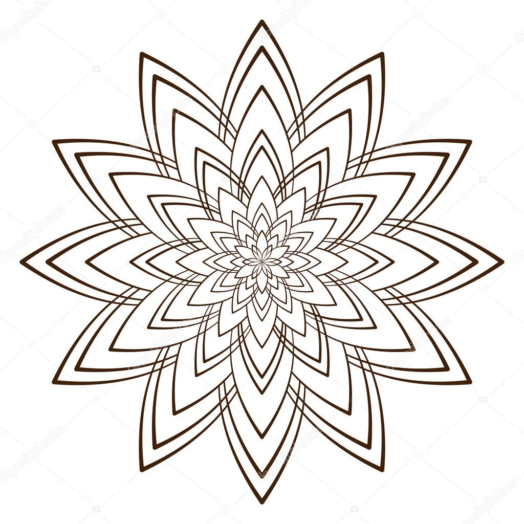 Vektor-Illustration - abstrakten Blumen zum Ausmalen. Runde Ornament ...