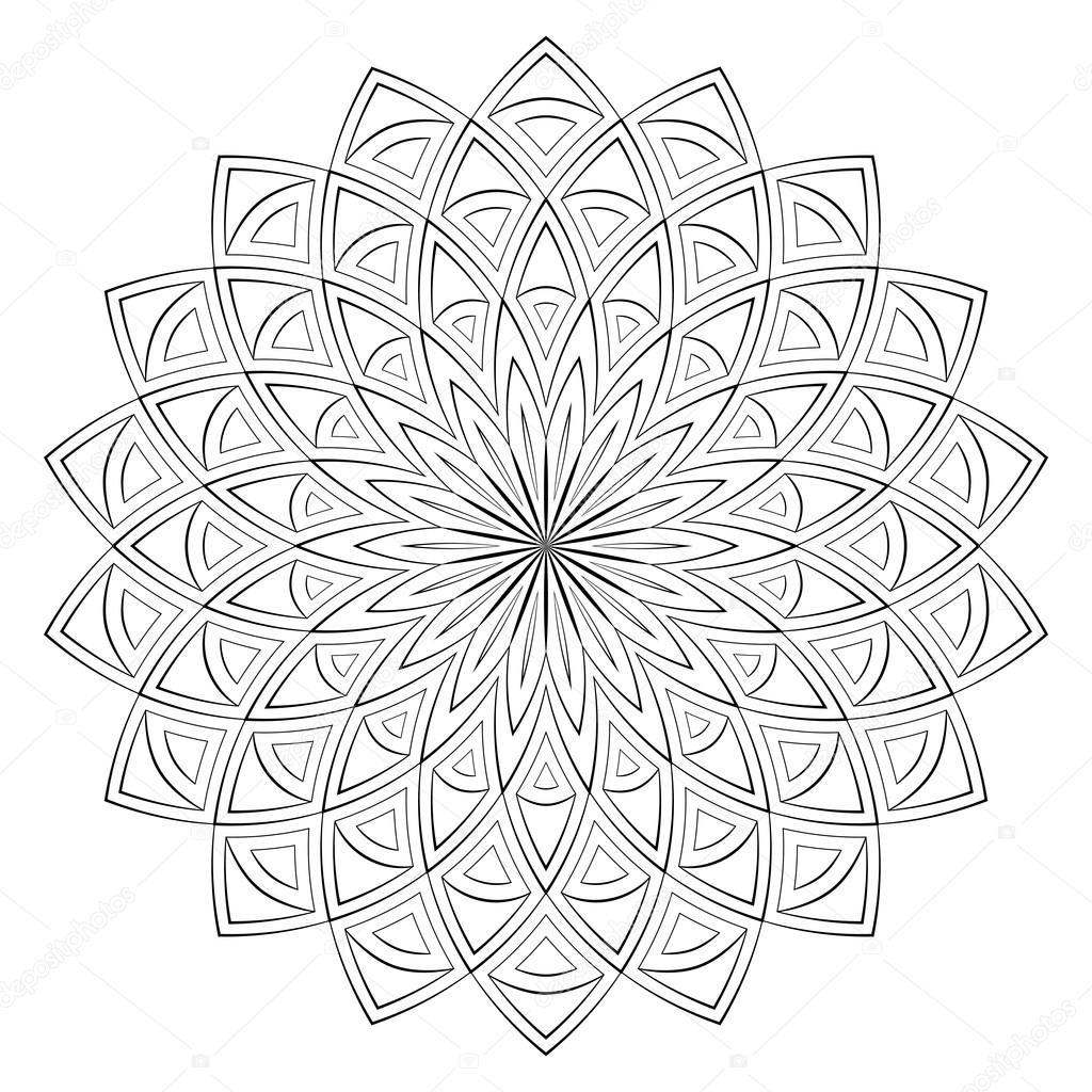 vektor illustration mandala zum ausmalen runde ornament muster quadratische malvorlagen. Black Bedroom Furniture Sets. Home Design Ideas
