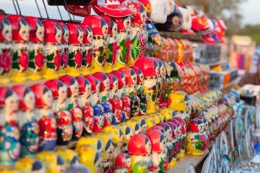 Colorful Russian nesting dolls matreshka at the market.