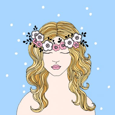 Girl with blond hair in floral wreath on a blue background