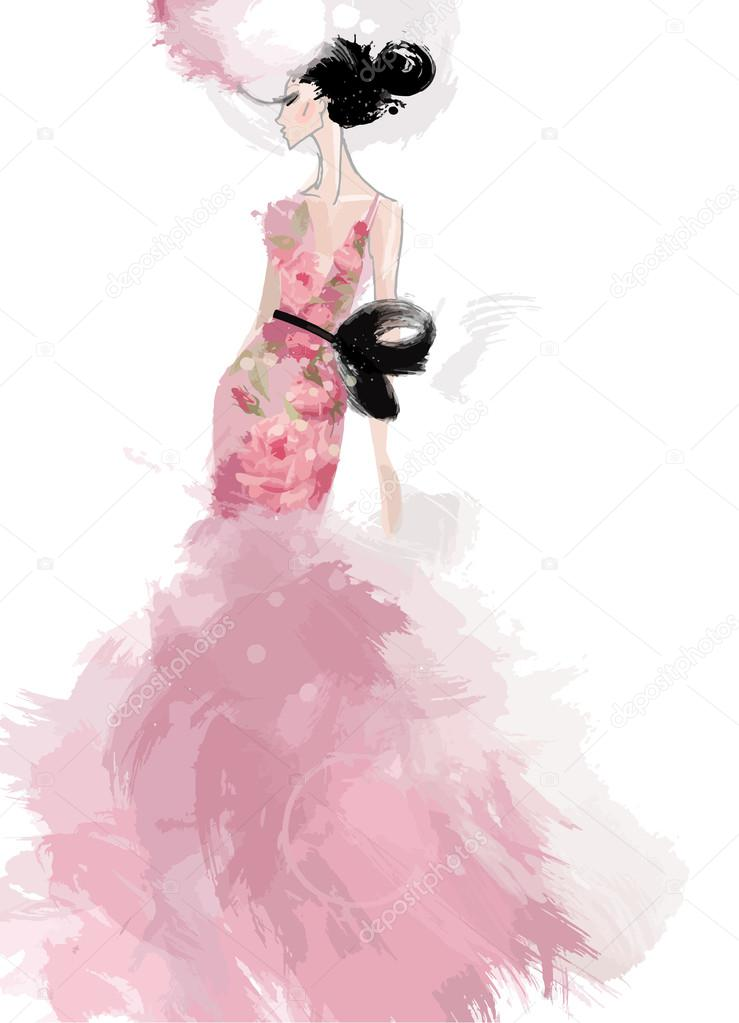 Fashion illustration, sketch model in pink evening dress — Stock ...