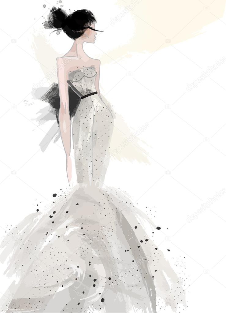 Fashion illustration, sketch model in grey evening dress — Stock ...