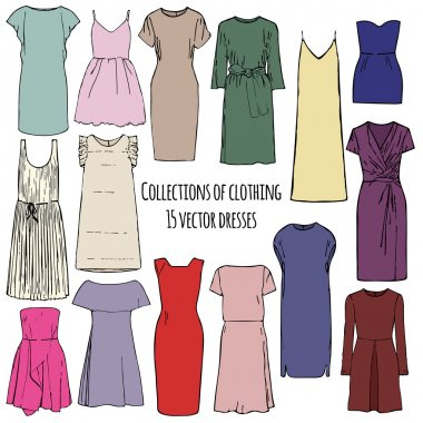 Collections of clothing, fifteen vector colorful dresses of different styles