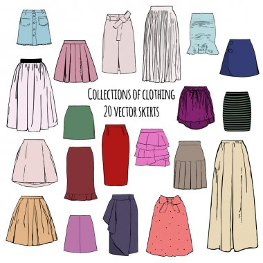 Collections of clothing, twenty colorful vector different styles of skirts