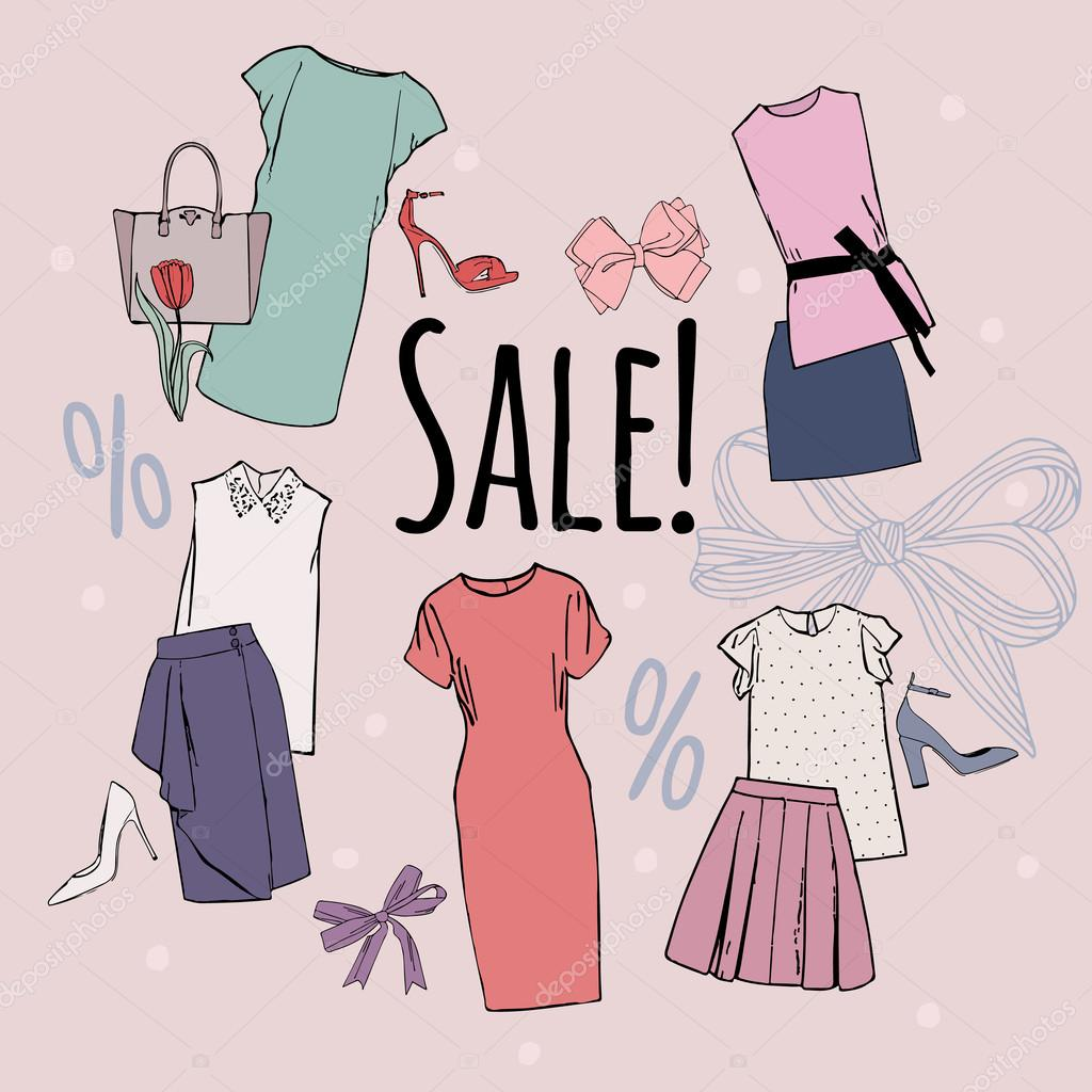 5ea5e57c086 Sale of women's clothing. Vector hand drawn collage of women clothing and  accessories and shoes