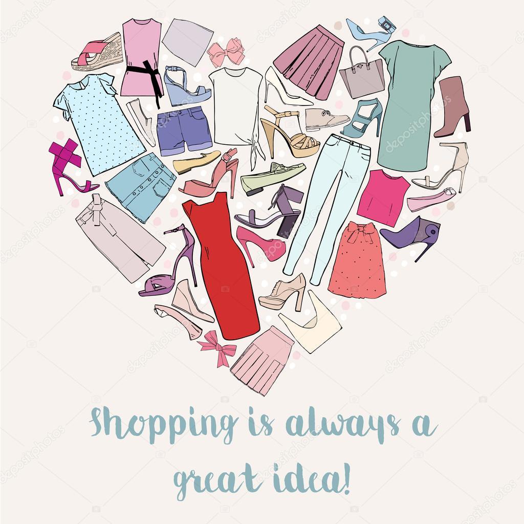 買い物は常に素晴らしいアイデアは女性の服靴弓の中心部です