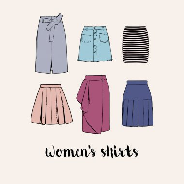 Six colorful vector women's skirts