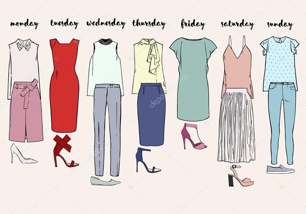 Women's clothes for a week. Dresses, skirts, tops, blouses, trousers and shoes