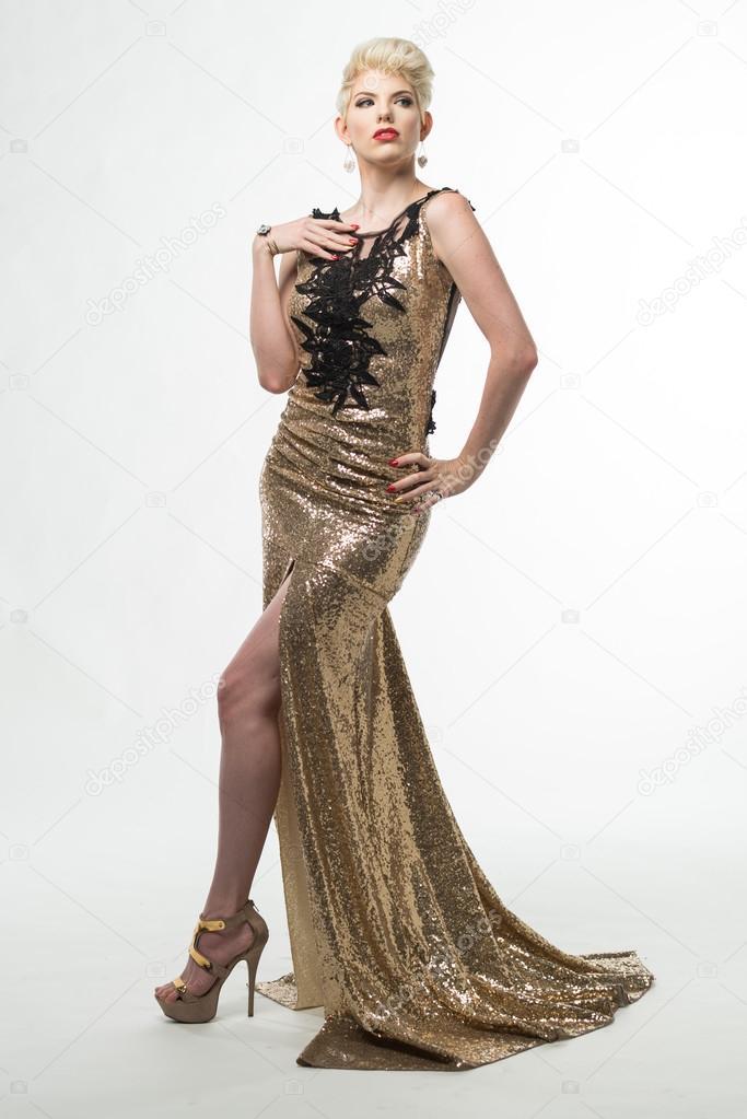 Woman Beauty Long Fashion Dress, Elegant Girl In Gold Gown — Stock ...