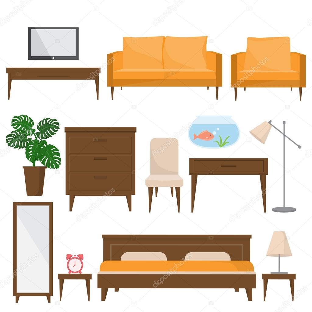living room and office furnitures in modern style — Stock Vector ...