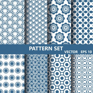 blue flowers nad curevs  pattern set