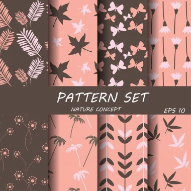Set of different vector patterns natural concept. Endless texture can be used for wallpaper, pattern fills, web page background,surface textures. stock vector