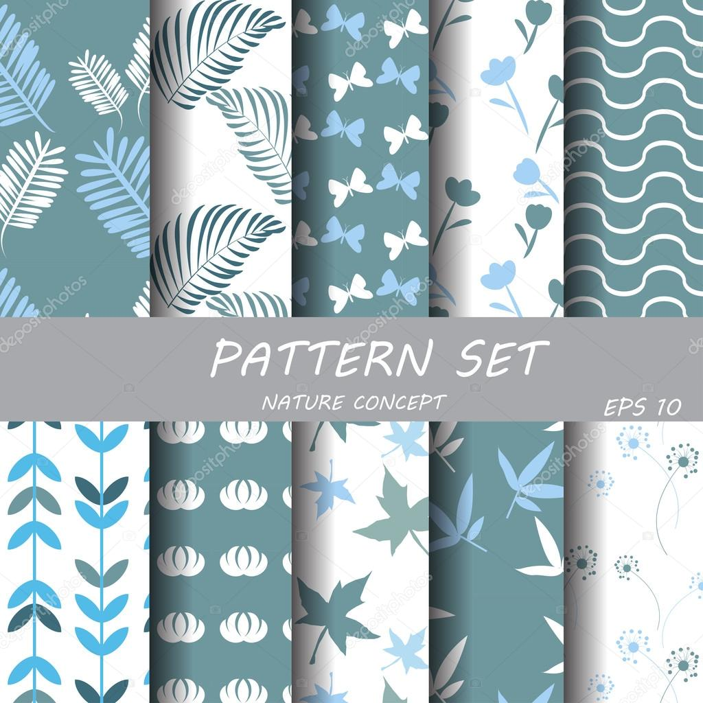 set of different patterns natural concept