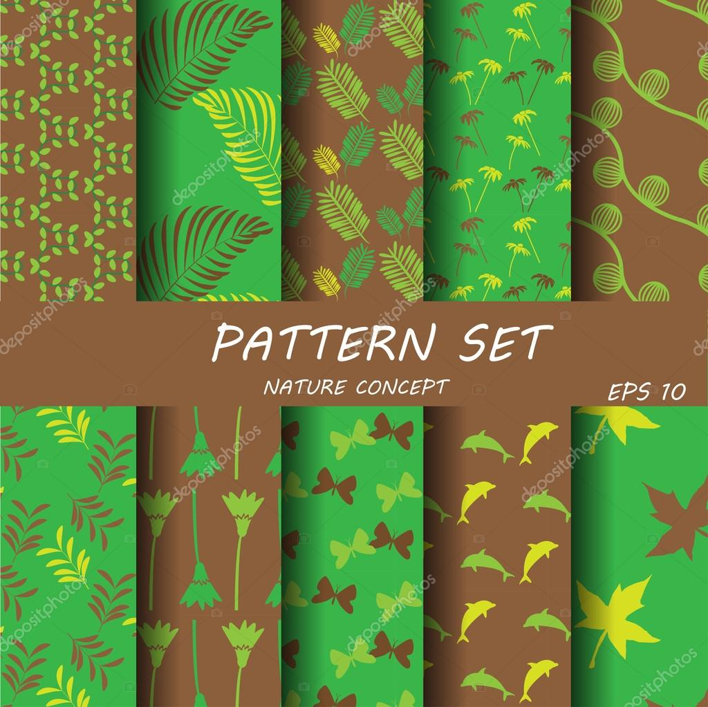 10 different seamless patterns natural concept