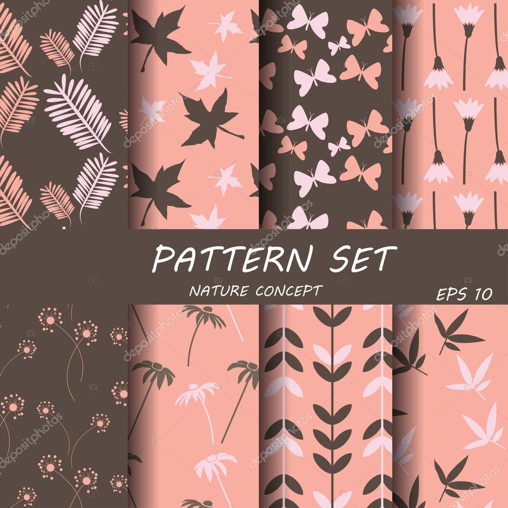 set of different patterns natural concept.