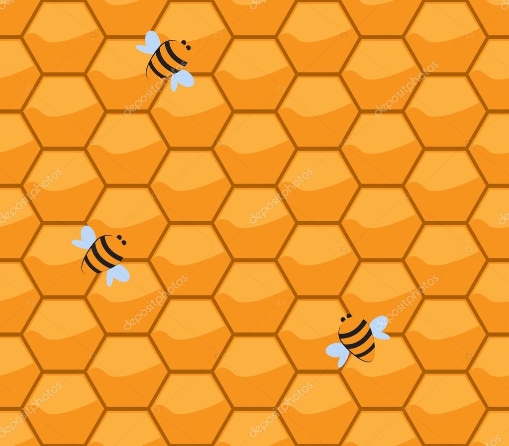 Orange Honeycomb With Bees VectorEndless Texture Can Be Used For Wallpaper Pattern Fills Web Page Backgroundsurface Textures