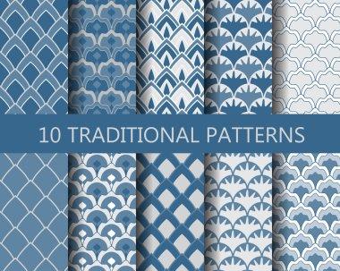 10 different classic wave patterns set