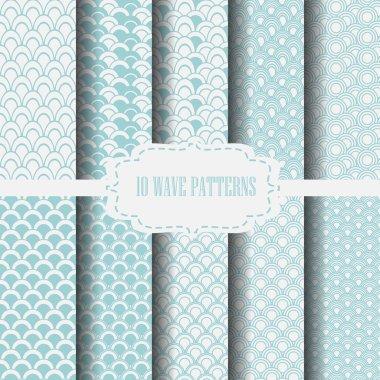 10 wave patterns blue