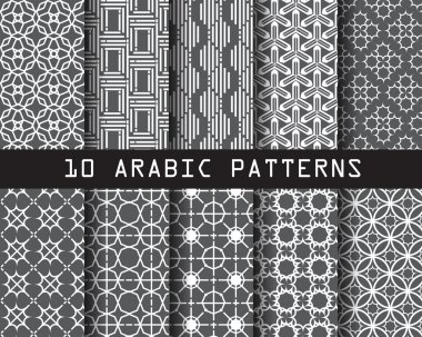 10 arabic patterns,  Pattern Swatches, vector, Endless texture can be used for wallpaper, pattern fills, web page,background,surface stock vector