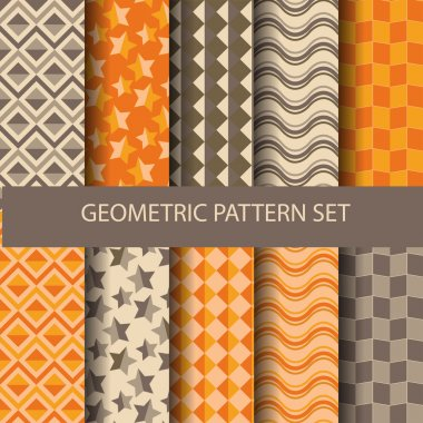12 orange and brown geometric patterns, vector, Endless texture can be used for wallpaper, pattern fills, web page,background,surface stock vector
