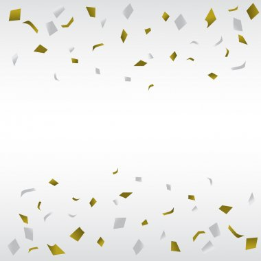 Gold and silver confetti background, can be ues for celebration, new year, birthday, christmas greeting card.  also design for web page, business banner, cover page. vector illustration clip art vector