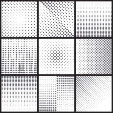 Black dots halftone backgrounds