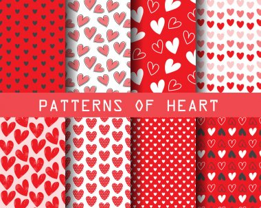 Set of Heart and sweet patterns, for valentines day clip art vector
