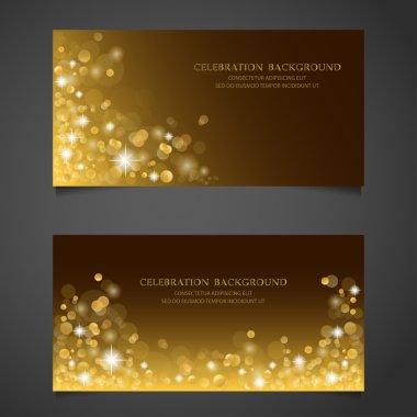 Golden sparkles banner set