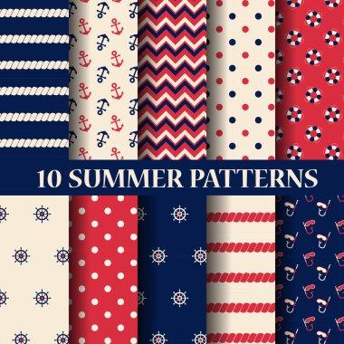 10 different summer seamless patterns
