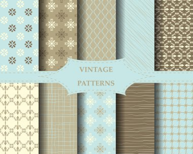 10 vintage patterns, Pattern Swatches, Endless texture can be used for wallpaper, pattern fills, web page background,surface textures. stock vector