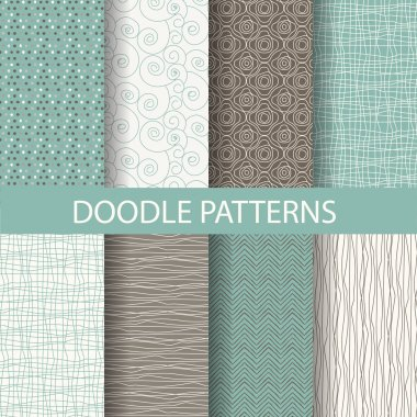 8 different beautiful doodle, dot patterns. Endless texture can be used for wallpaper, pattern fills, web page background,surface textures,tile, greeting card, scrapbook, backdrop stock vector