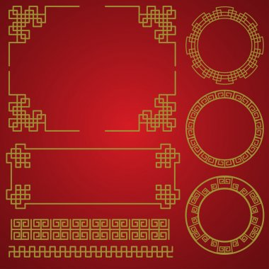 Chinese traditional border and frame template. gold and red classic chinese pattern. vector illustration stock vector